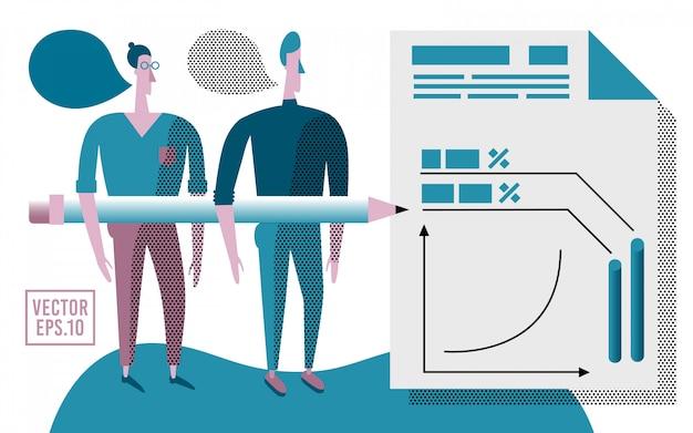 Illustrazione di consulenza aziendale. pullman aziendali e infografica