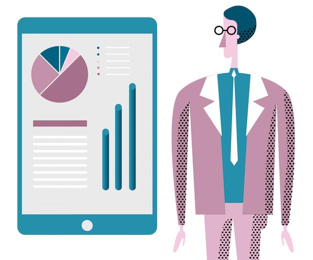 Illustrazione di consulenza aziendale. impiegato e infografica.