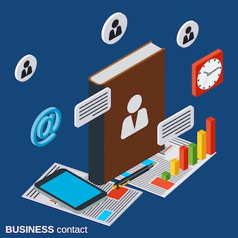 Illustrazione isometrica piana di concetto di vettore del contatto di affari