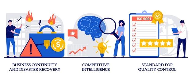 Continuità aziendale e ripristino di emergenza, intelligenza competitiva, standard per il concetto di controllo qualità con persone minuscole. il successo dell'azienda garantisce l'insieme astratto dell'illustrazione di vettore.