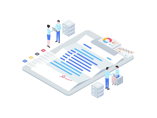 Illustrazione isometrica del contratto di affari. adatto per app mobili, siti web, banner, diagrammi, infografiche e altre risorse grafiche.