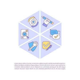 Icona di concetto di software di gestione del contratto aziendale con testo. diminuzione dei rischi finanziari e di audit. modello di pagina ppt. brochure, rivista, elemento di design opuscolo con illustrazioni lineari
