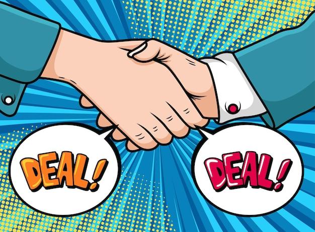 Fumetto di simbolo di cooperazione aziendale. illustrazione dell'icona di pop art