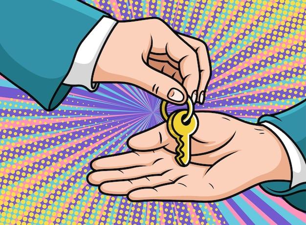Cooperazione commerciale con key cartoon. illustrazione dell'icona di pop art