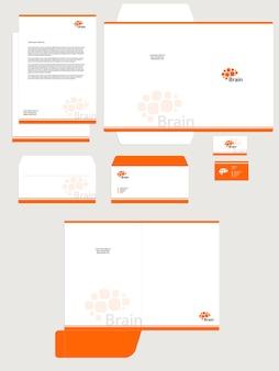 Set di identità aziendale aziendale modello vettoriale isolato sfondo bianco colore arancione logo del cervello