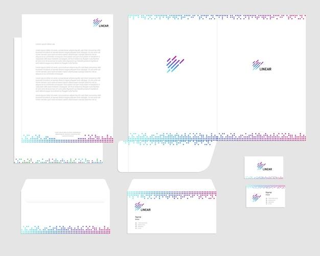 Set di identità aziendale aziendale modello vettoriale sfondo bianco colorato quadrato lineare logo card