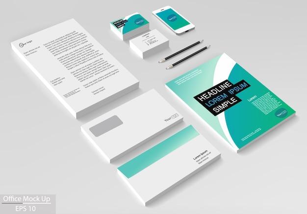 Insieme di modelli di identità aziendale aziendale. mock up vettoriale per ufficio. modello di progettazione volantino opuscolo
