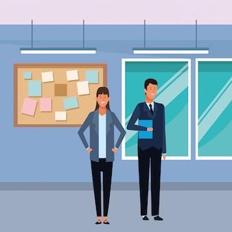 Personaggio dei cartoni animati dell'avatar delle coppie di affari nell'ufficio