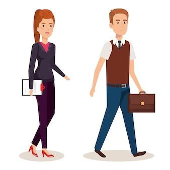 Progettazione isometrica dell'illustrazione di vettore degli avatar delle coppie di affari