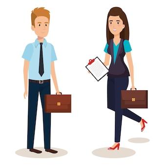 Avatar isometrico di coppia di affari