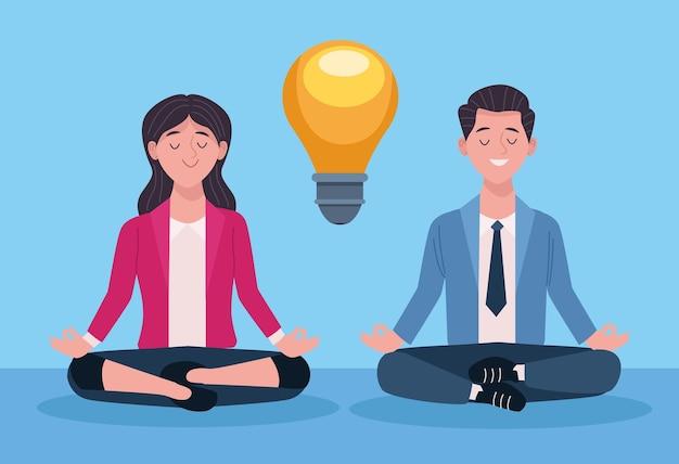 Coppia di affari a praticare yoga posizione del loto illustrazione