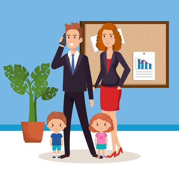 Coppia di affari con avatar isometrica di bambini