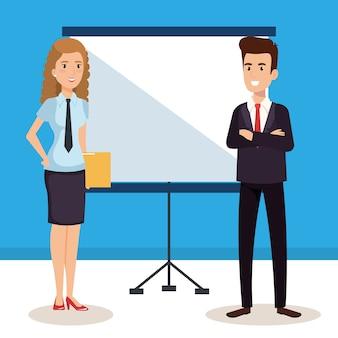 Coppia di affari con personaggi di avatar di formazione cartone