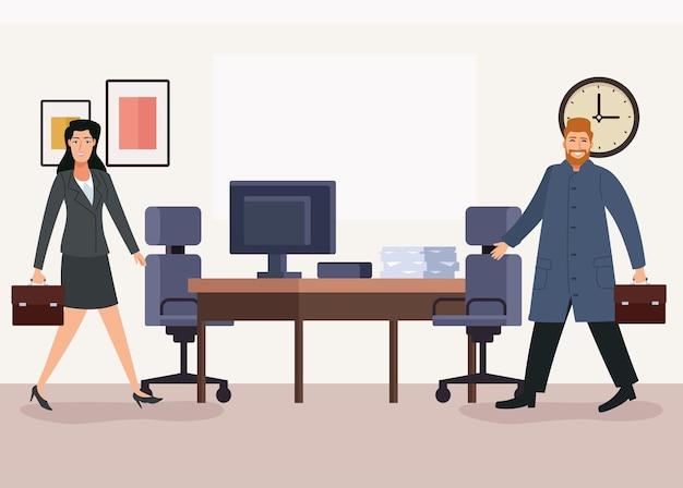 Coppie di affari con i portafogli che camminano indietro all'illustrazione dei caratteri dell'ufficio