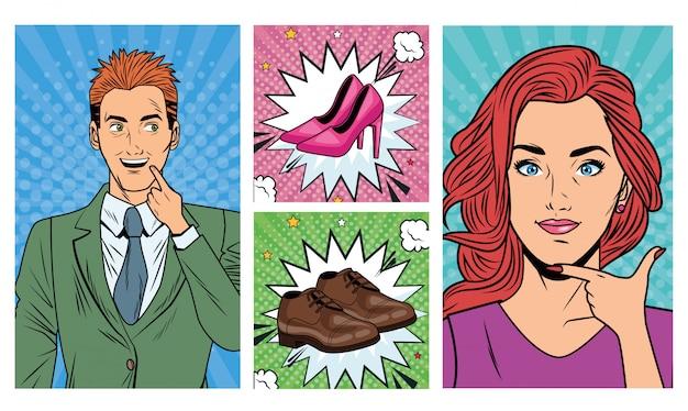 Coppia di affari con accessori per scarpe stile pop art