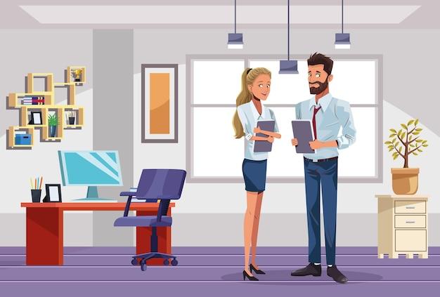 Lavoratori delle coppie di affari nell'illustrazione della scena del posto di lavoro