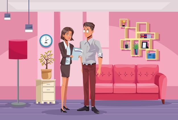 Lavoratori delle coppie di affari nell'illustrazione del posto di lavoro