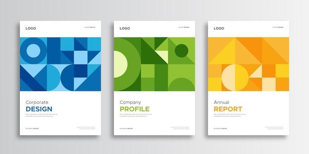 Set copertina aziendale con stile aziendale e geometrico Vettore Premium