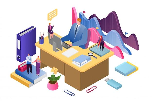 Analisi creativa aziendale e strategia di illustrazione isometrica di analisi dei dati di successo. relazione finanziaria e strategia. crescita degli investimenti aziendali, marketing e gestione.