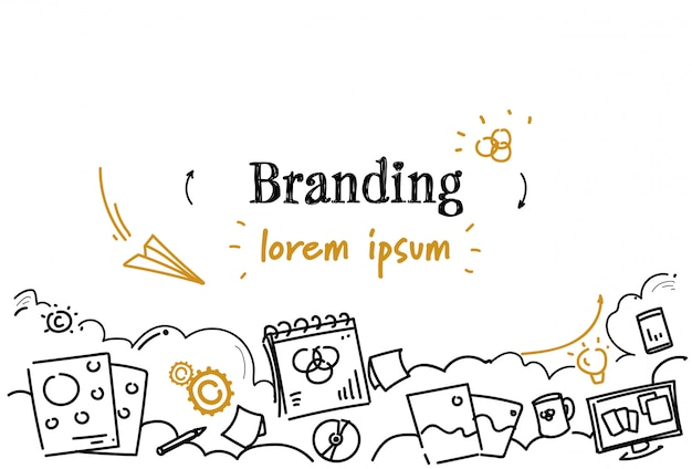 Modello orizzontale marcante a caldo di sviluppo creativo di affari