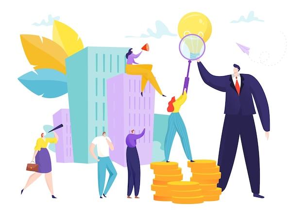 Leader di idea creativa aziendale con persone del team