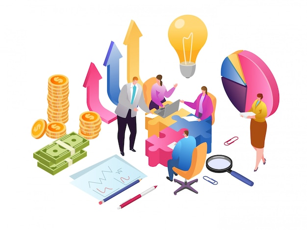 Illustrazione isometrica di analisi dei dati di sviluppo e lavoro di squadra creativo di affari. relazione finanziaria e strategia. lavoro di squadra aziendale per la crescita degli investimenti, marketing e gestione in team.