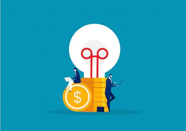 Creatività aziendale sul vettore di idea della grande lampadina