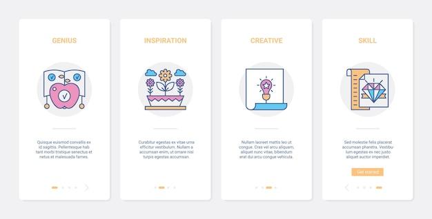 Concetto di idea di linea di creatività aziendale ux ui onboarding app mobile