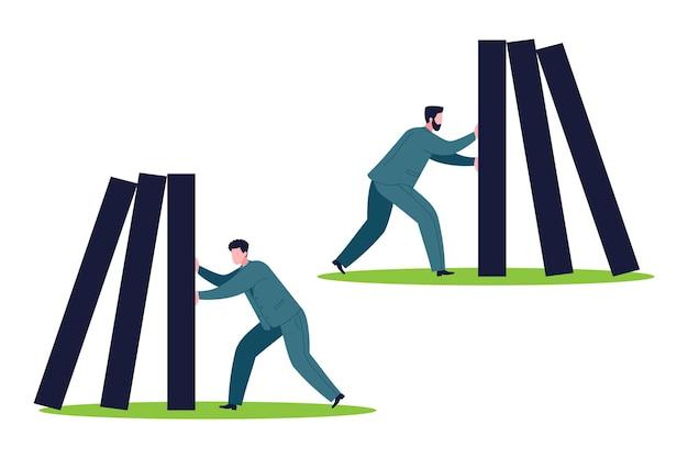 Concetto di gestione delle crisi aziendali. assicurazione, aiuto e supporto dell'azienda, protezione contro i rischi del collasso economico. un leader o un gestore di crisi aiuta a fermare la caduta dei domino.