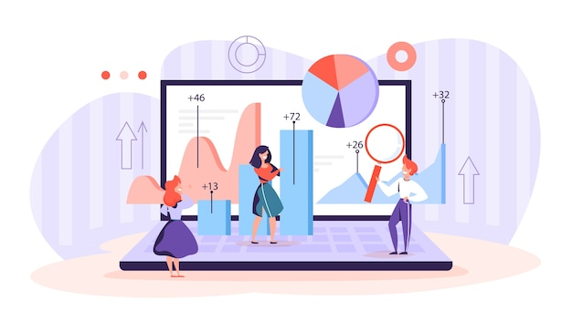 Illustrazione di concetto di analisi e analisi dei dati aziendali