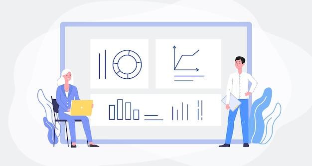 L'analisi dei dati aziendali con le persone tiene traccia delle prestazioni aziendali e delle statistiche aziendali sullo schermo del computer enorme con grafici e grafici, piatti.