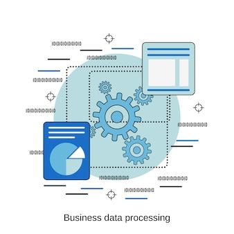 Illustrazione di concetto di vettore di stile di progettazione piana di elaborazione di dati di affari