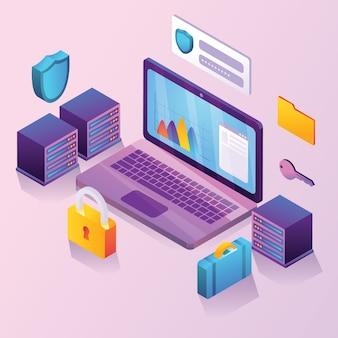 Illustrazione isometrica di sicurezza dei dati aziendali
