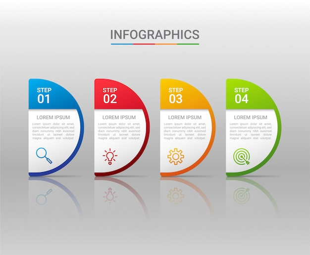 Visualizzazione dei dati aziendali, modello infografico con 4 passaggi