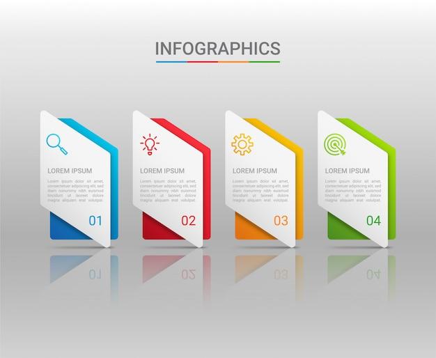 Visualizzazione dei dati aziendali, modello infographic con i punti su fondo grigio, illustrazione