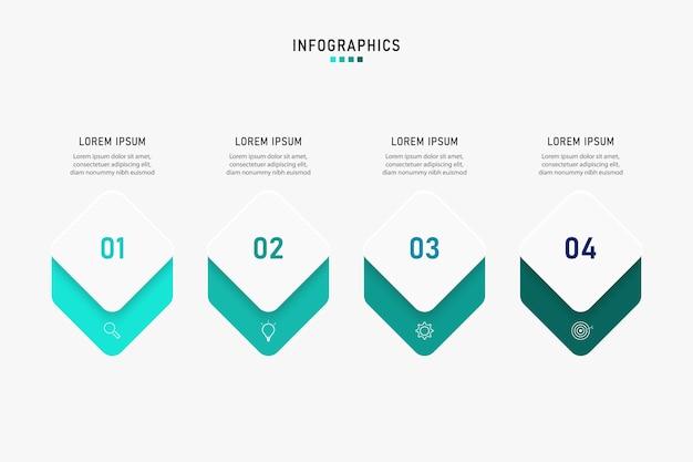 Visualizzazione dei dati aziendali. grafico di processo. elementi astratti di grafico, diagramma con passaggi, opzioni, parti o processi. modello di affari. concetto creativo per infografica.
