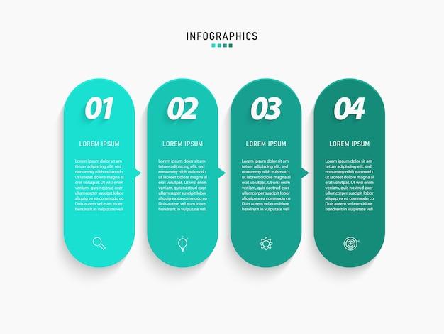 Visualizzazione dei dati aziendali. elemento grafico di processo. grafico astratto con diagramma con opzioni, parti o processi di passaggi. modello di affari. concetto creativo per infografica.
