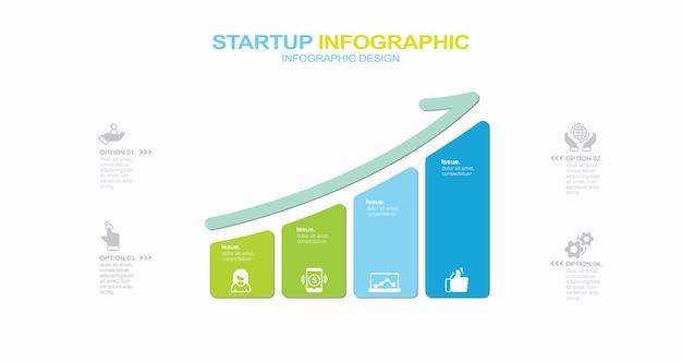 Icone infografiche della cronologia di visualizzazione dei dati aziendali progettate per il modello di sfondo astratto