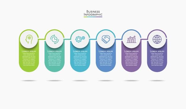 Icone infografiche timeline visualizzazione dati aziendali progettate per modello di sfondo astratto