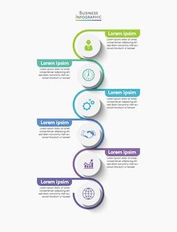 Icone di infografica timeline di visualizzazione dei dati aziendali progettate per il modello di sfondo astratto