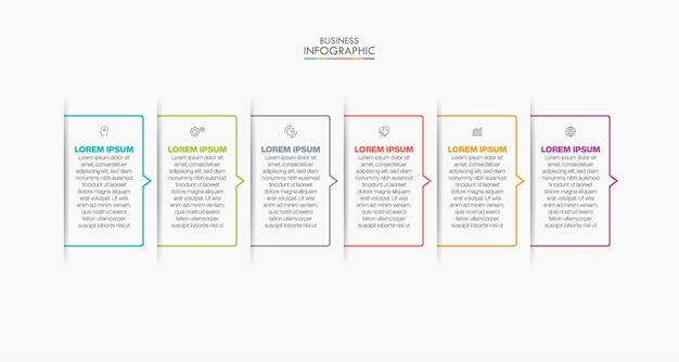 Icone infographic di cronologia di visualizzazione dei dati aziendali progettate per il modello di sfondo astratto