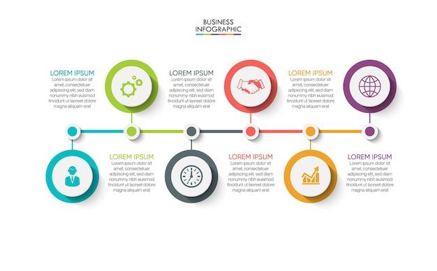 Modello di infografica timeline di visualizzazione dei dati aziendali