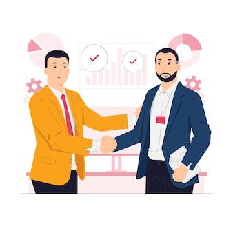 Illustrazione di concetto di stretta di mano dei due partner commerciali di affari di affari