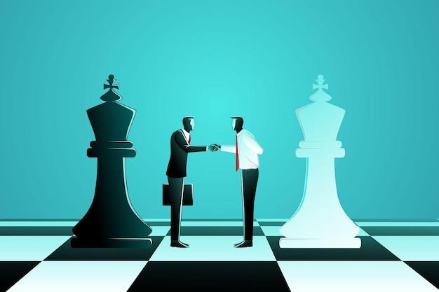 Affare tra due uomini d'affari con scacchi re neri e scacchi bianchi