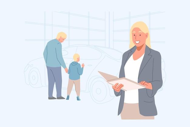 Concessionaria di affari e illustrazione di concetto di noleggio