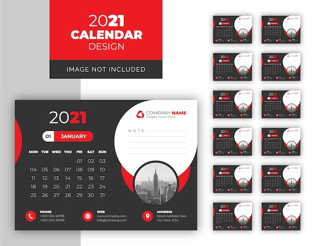 Modello di progettazione calendario scrivania da lavoro in colore scuro