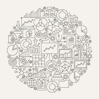 Cerchio delle icone della linea del diagramma di affari. illustrazione vettoriale di oggetti di struttura del grafico di analisi.