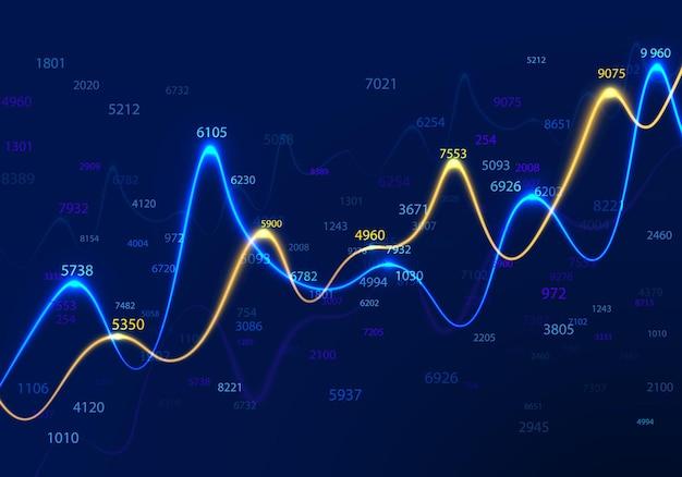 Diagrammi aziendali e grafici su sfondo blu con numeri casuali.