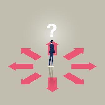 Concetto di vettore di opinione diversa di affari che sceglie il simbolo di direzione della discussione