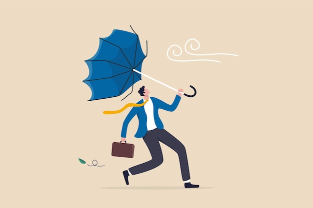Difficoltà di affari o ostacolo nella crisi economica, errore o incidente che causa problema o fallimento, concetto di depressione e ansia, uomo d'affari frustrato che tiene ombrello rotto in una forte tempesta di vento.